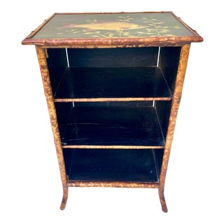 Late 19th Century English Bamboo Wood Decoupage Bookcase Cabinet Table For Sale