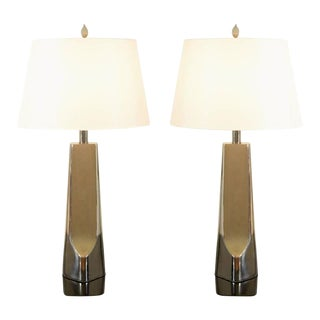 Sculptural Restored Pair of Cast Metal Lamps by Laurel in Nickel For Sale