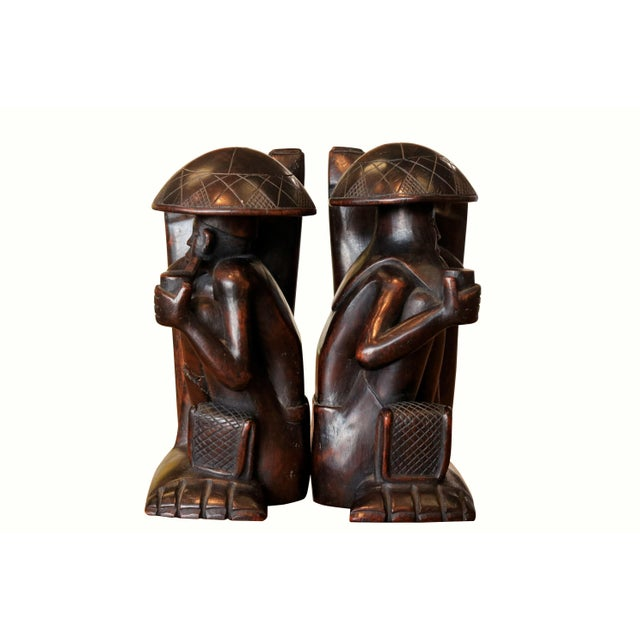 Asian Traditional Carved Figural Book Ends - a Pair For Sale - Image 3 of 9