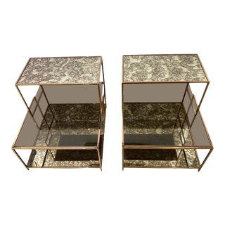 Milo Baughman Style Italian Side or Night Tables - a Pair For Sale