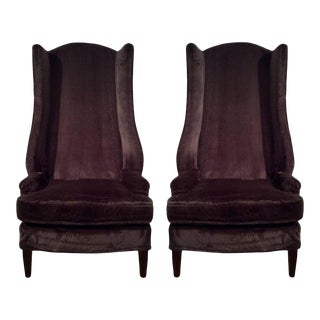 Mid-Century Modern Tall Wing Back Chair - A Pair For Sale