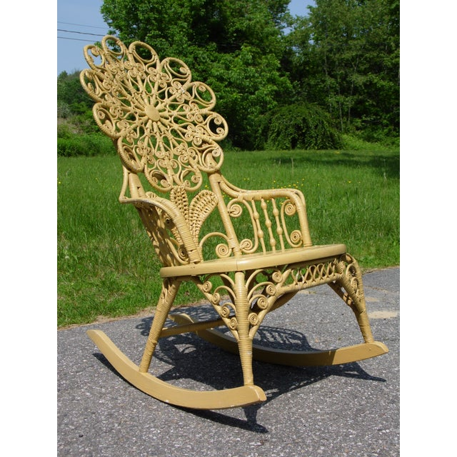 Traditional Antique Victorian Ornate Wicker Portrait Rocking Chair Rocker For Sale - Image 3 of 13