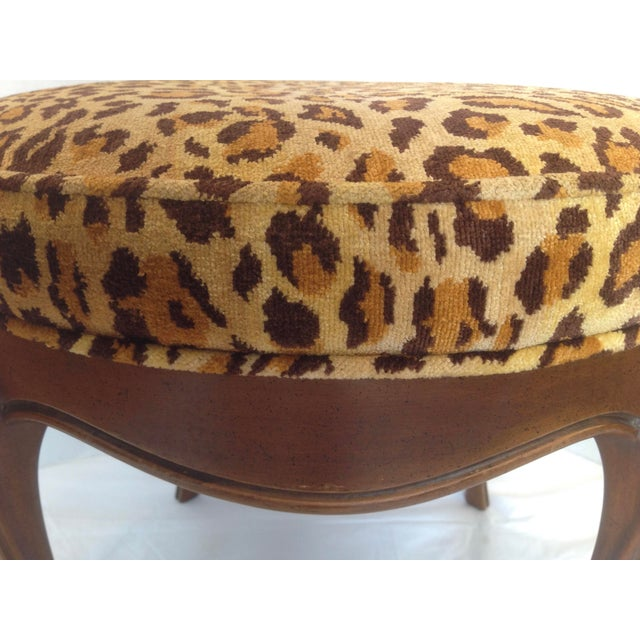 Vintage Italian Leopard Upholstered Vanity Stool For Sale - Image 11 of 13