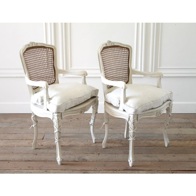 20th Century Vintage Painted Cane Back Open Arm Chairs- A Pair For Sale - Image 11 of 13