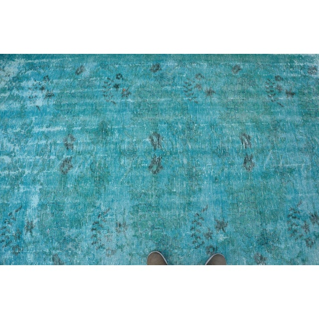 Overdyed Turquoise Rug - 5′2″ × 9′2″ For Sale - Image 4 of 6