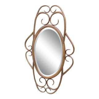 Large Vintage Rattan Bamboo Wall Mirror - Thonet Style For Sale