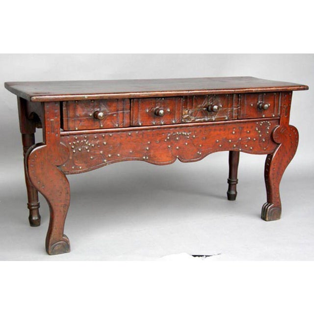 19th century all original Nahuala (animal spirit) table with four drawers. Old, worn patina throughout. These table are...