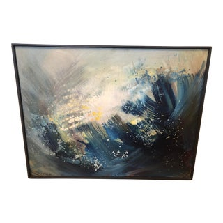"""1960s """"A Blue Painting"""" Abstract En-Yo Yang Painting, Framed For Sale"""