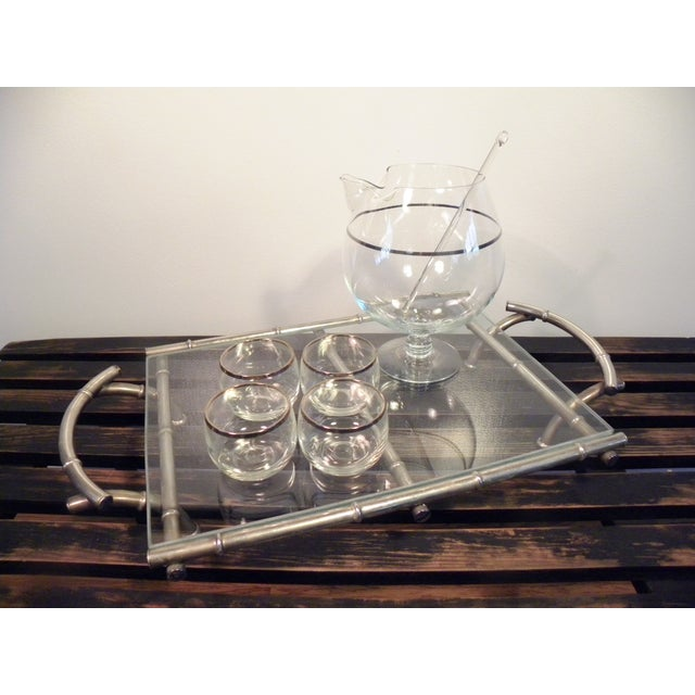 Vintage Silver & Glass Faux Bamboo Serving Tray - Image 5 of 5