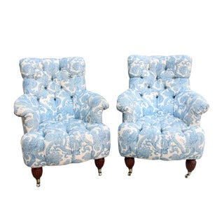 Mid 19th Century Napoleon III Tufted Armchairs- A Pair For Sale