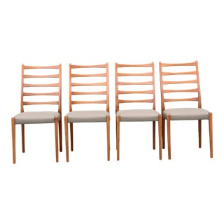 Set of Four Danish Modern Ladder Back Dining Chairs For Sale