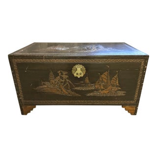 Folk Art Style Carved Trunk For Sale