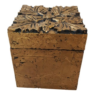 Arts and Crafts Speer Decorative Gold Floral Box For Sale