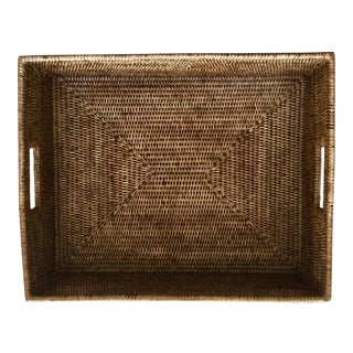 Vintage Rattan Woven Large Tray For Sale
