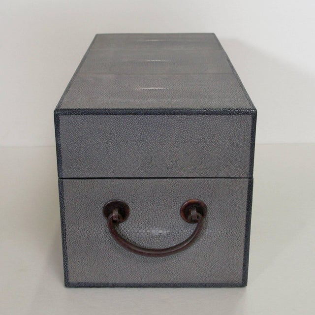 Italian Gray Shagreen Wood Box by Fabio Ltd (2 Available) For Sale - Image 3 of 7