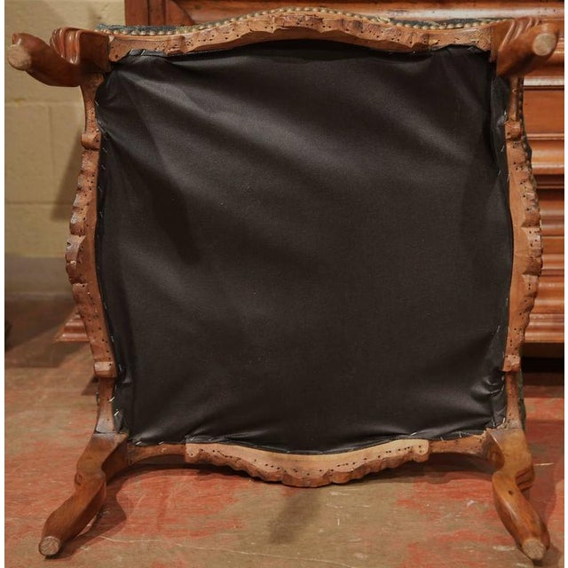 18th Century French Louis XV Walnut Square Stool With Aubusson Tapestry For Sale - Image 9 of 9