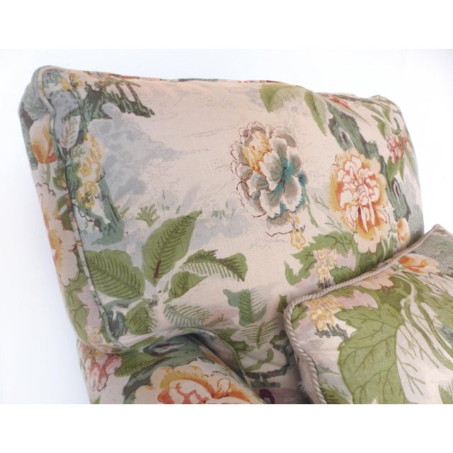 Overscale Pair of Chinoiserie Upholstered Club Chairs With Down Cushions For Sale - Image 9 of 12