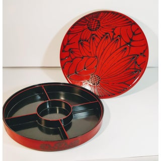 Vintage Japanese Red Lacquer Divided Box and Tray - Separates to Three Pieces Preview
