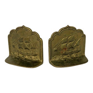 1920s Pair of Bookends Nautical Sailing Ship For Sale