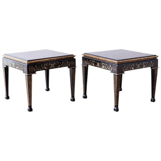 Pair of Italian Neoclassical Parcel-Gilt Lacquered Drink Tables For Sale