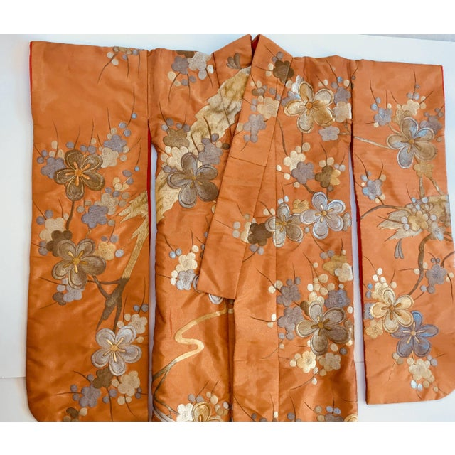 Vintage Brocade Japanese Ceremonial Kimono in Orange, Gold and Silver For Sale In Los Angeles - Image 6 of 13