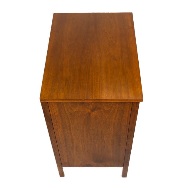 Calvin Paul McCobb for Calvin Nightstand in Walnut and Aluminum, Circa 1960s For Sale - Image 4 of 7