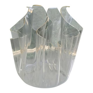 Mid Century Lucite Handkerchief Vase For Sale