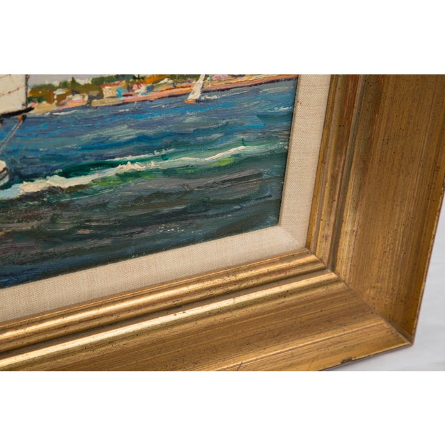 Mid 20th Century American Marine Oil Painting on Board by Wayne Morrell For Sale - Image 5 of 7