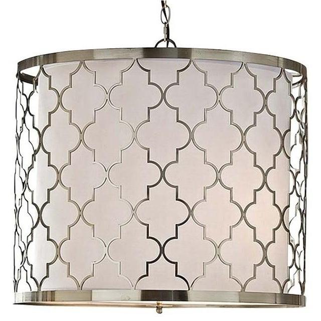 Regina Andrew Design Transitional Patterned Chandelier. Model 405-176. Moroccan inspired brushed nickel frame over a white...