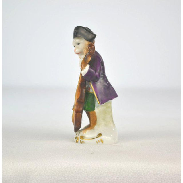Figurative Antique Porcelain Monkey Musician, from Germany, Purple Coat For Sale - Image 3 of 8