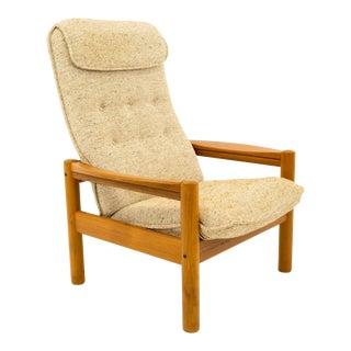 Vintage Mid Century Domino Mobler Teak Highback Lounge Chair For Sale