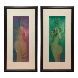 Pastels by Vladimir Cora - a Pair For Sale