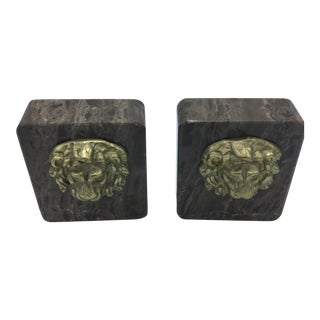 Brown Marble Lion Head Bookends - A Pair For Sale