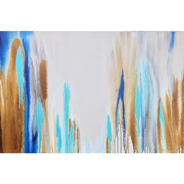 "2010s Abstract Acrylic With Oil Finish Painting, ""Blue Laguna Hills II"" by Trudi Norris For Sale"