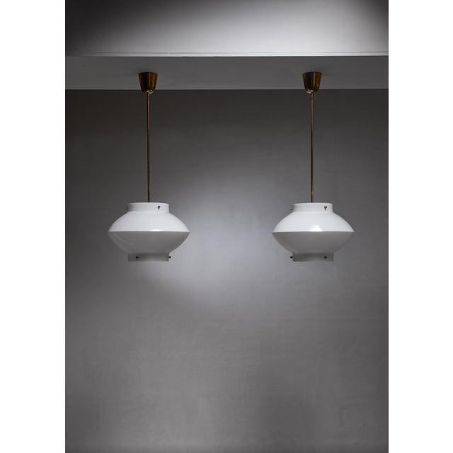 Mid-Century Modern Pair of Yki Nummi White Plexiglass and Brass Pendants for Orno For Sale - Image 3 of 5