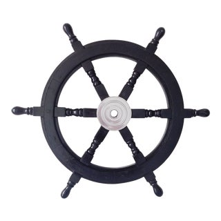 Early 19th Century Nautical Handcrafted 24 Inch Black Wooden Ship Wheel, Home Wall Décor For Sale