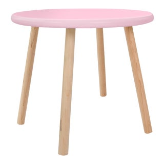 "Peewee Small Round 23.5"" Kids Table in Maple With Pink Finish Accent For Sale"