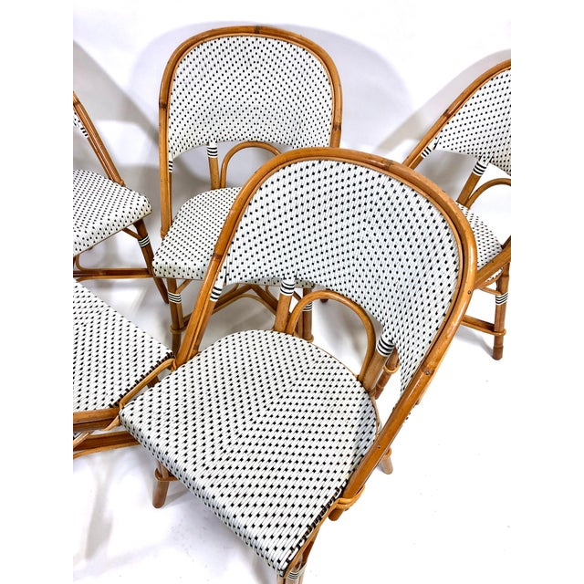 Maillot French Bistro Woven Bamboo Rattan Chairs—Set of 5 For Sale - Image 4 of 13