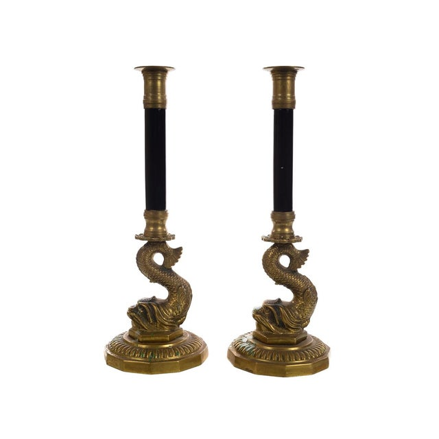 Antique French Brass Candle sticks w/Dolphins - Pair - Image 2 of 9
