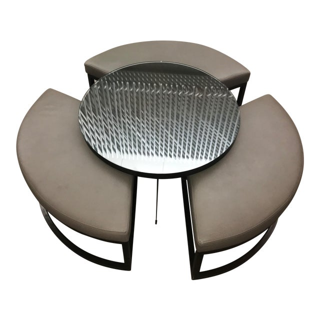 Transitional Round Coffee Table and Ottomans Set - 4 Pieces For Sale