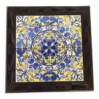 Tile and Wood Trivet in Blue & Yellow, Mexico For Sale