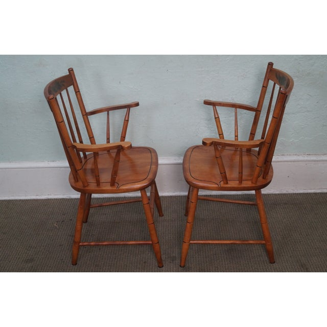 Hitchcock Solid Maple Stenciled Arm Chairs - A Pair - Image 5 of 10