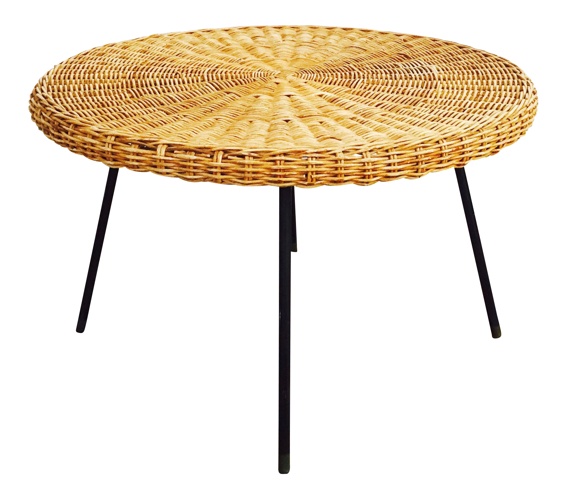 Mid Century Round Wicker Coffee Table On Metal Base