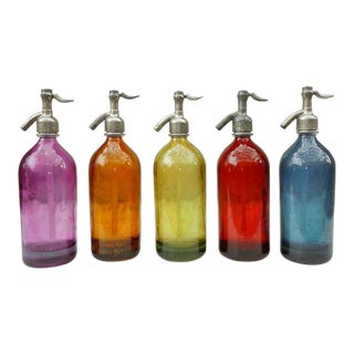Vintage Colorful Seltzer Bottles - Set of 5 For Sale