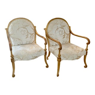 Gold Leaf Verona Arm Chairs by Rose Tarlow Melrose House- A Pair For Sale