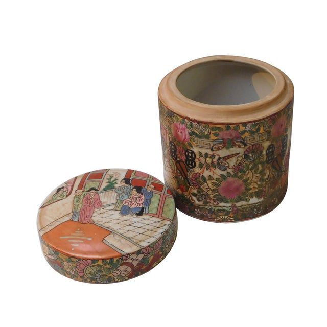 Chinese Oriental Porcelain Container For Sale - Image 4 of 6