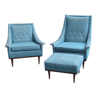 Mid Century Modern Selig Lounge Arm Chairs & Ottoman- 3 Pieces For Sale