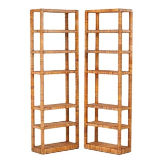 1960s Rattan-Wrapped Etageres - a Pair