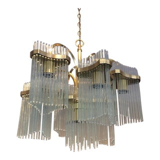 Sciolari Glass Rods, Solid Brass Lightolier Chandelier 7-Arm 1960s Italia For Sale