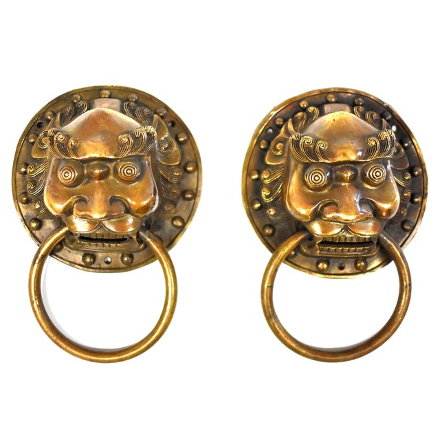 Vintage Mid Century Small Warrior Door Knockers- a Pair For Sale - Image 13 of 13